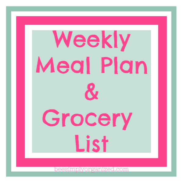 Looking for a weekly meal plan and grocery list ready to go? I have one here for you! Each week I write a weekly meal plan and grocery list! This will help to simplify your week ahead. I even will send you a reminder on Sunday straight to your inbox! Check it out!  Bee Simply Organized  beesimplyorganized.com
